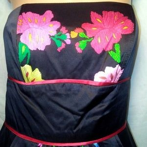 Voom by Joy Han Sz S Black Floral Silk Dress